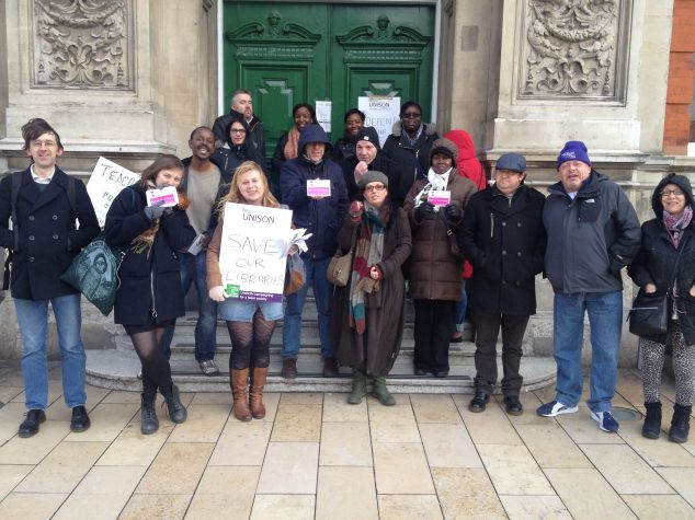 lambeth-library-picket-strike 08 february 2016